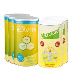 2 x Almased Vitalkost, Pulver + 3 x BEAVITA Vitalkost laktosefrei, Pulver