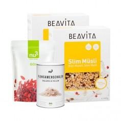 nu3 økologiske loppefrøskaller + nu3 naturals gojibær + BEAVITA Slim Müsli