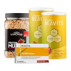 2 x BEAVITA Vitalkost + Fettblocker + Layenberger LowCarb.one Protein Müsli Himbeer-Erdbeer