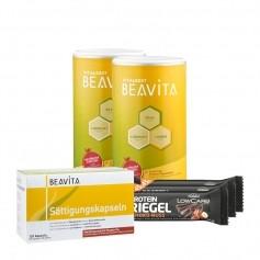 2 x BEAVITA Vitalkost + Sättigungskapseln + 3 x Layenberger LowCarb.one Protein-Riegel Schoko-Nuss