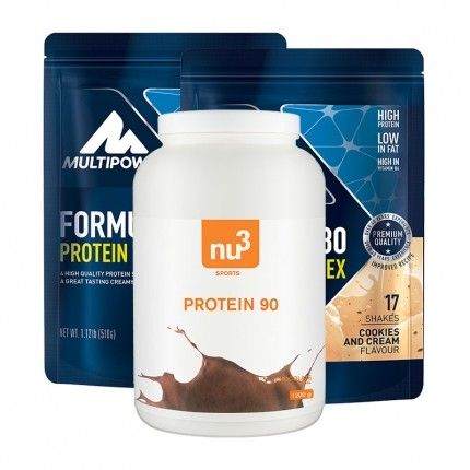 2 x Multipower, Formula 80 cookies & cream + nu3 Protéine 90 chocolat