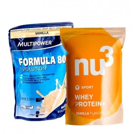 2 x Multipower, Formula 80 evolution, vanille + nu3 Protein Whey +