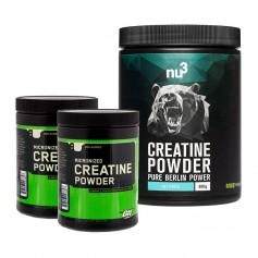 2 x Optimum Nutrition Creatine + nu3 Creatine, pulver