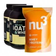 2 x Optimum Nutrition Natural 100% Oats & Whey Vanilla + nu3 Whey Protein+ Vanilj