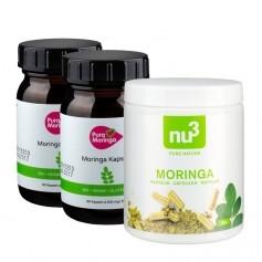 2 x PURA MORINGA Bio Moringa-shots + nu3 Moringapulver, kapslar