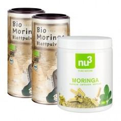 2 x Sanleaf, Poudre de feuille de moringa bio + nu3 Moringa bio, gélules