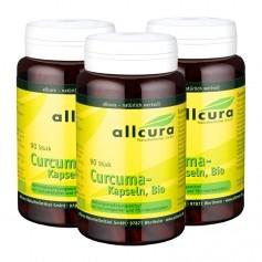 3 x allcura økologiske gurkemeie-kapsler