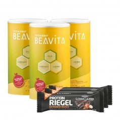 3 x BEAVITA Vitalkost + Layenberger LowCarb.one Protein-Riegel Schoko-Nuss