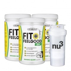 3 x Layenberger Fit+Feelgood Schlank-Diät Banane-Quark + nu3 SmartShake