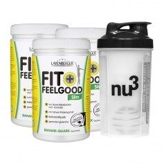 3 x Layenberger Fit+Feelgood Schlank-Diät Banane-Quark + nu3 Shaker