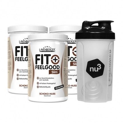 3 x Layenberger Fit+Feelgood Schlank-Diät Schoko-Nuss + nu3 Shaker