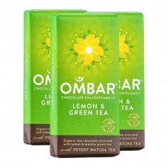 3 x Ombar Bio Lemon &  Green Tea Rohe Schokolade