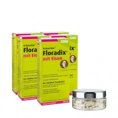 5 x Floradix mit Eisen, Tonikum + 1 x PURE WOMAN Oyster Hyaluron, Kapseln