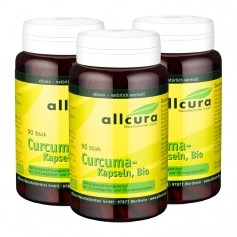 3 x allcura Curcuma Bio, Kapseln