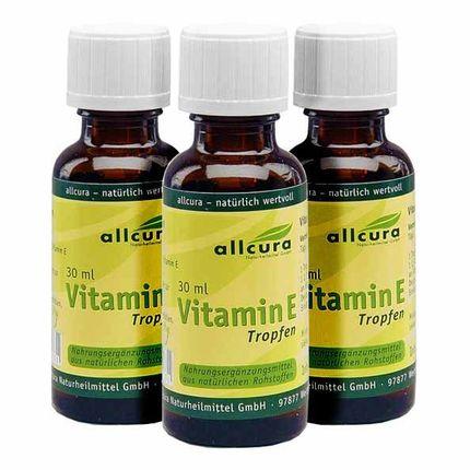 3 x allcura Vitamin E, Tropfen