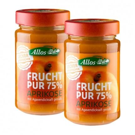 Allos Bio Frucht Pur 75 %, Aprikose (2 x 250 g)
