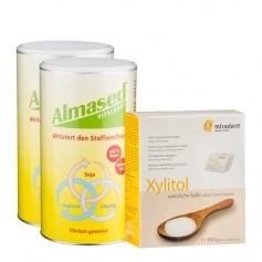Kaloriensparpaket mit Xylitol und Doppelpack Almased Vitalkost
