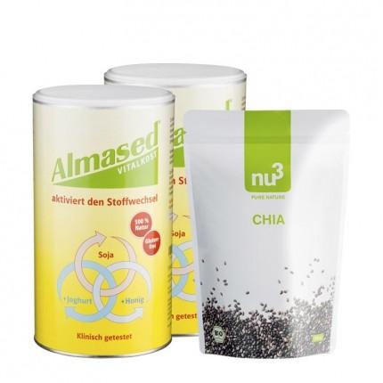 Almased Superfood-Diät Paket: Doppelpack Vitalkost + nu3 Bio Chiasamen