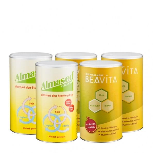 2 x Almased Vitalkost, Pulver + 3 x BEAVITA Vitalkost, Pulver