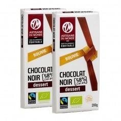 2 x Artisans du Monde, Chocolat noir biologique dessert