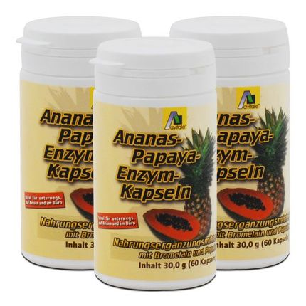 3 x Avitale Ananas-Papaya-Enzym Kapseln