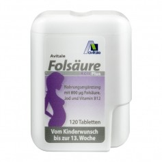 Avitale Folsäure 800 Plus B12+Jod, Tabletten