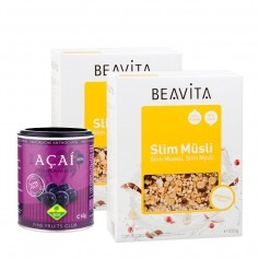 2 x BEAVITA Slim Müsli + Fine Fruits Bio Acai Pulver