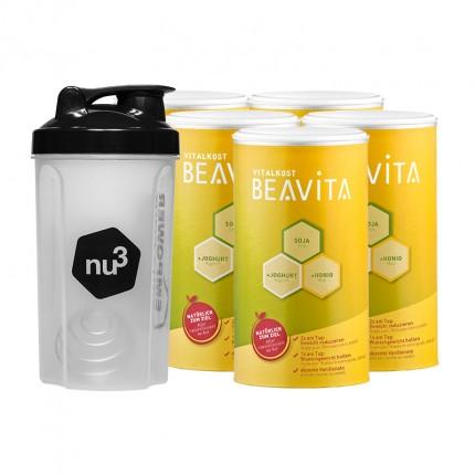 Vægttabspakke: BEAVITA Vitalkost + Vitalkost Laktosefri + nu3 Shaker