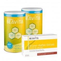 BEAVITA Natural Greens Diät: Doppelpack Vitalkost laktosefrei + Grüner-Kaffee-Extrakt Kapseln