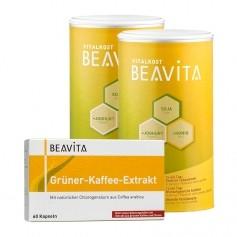 BEAVITA Natural Greens Diät: Doppelpack Vitalkost + Grüner-Kaffee-Extrakt Kapseln