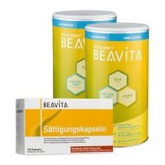 CH BEAVITA Sättigungs-Paket: Doppelpack Vitalkost laktosefrei + Sättigungskapseln