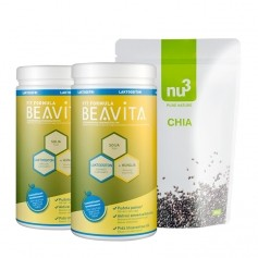 BEAVITA Superfood -dieetti: Vitalkost laktoositon -jauhe + nu3 Chia siemenet