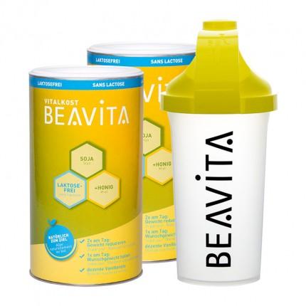 2 x BEAVITA Vitalkost laktosefrei mit Slim Shaker