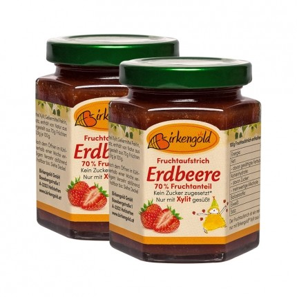 Birkengold Fruchtaufstrich, Erdbeere (2 x 200 g)