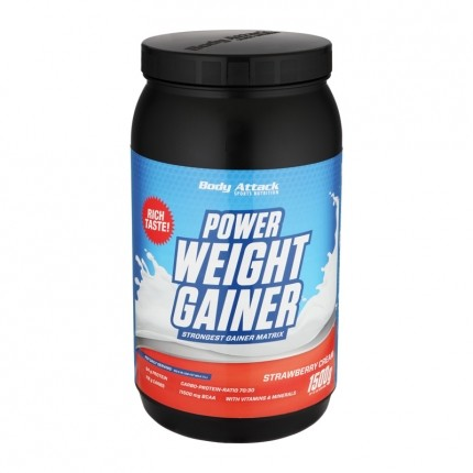 Body Attack Power Weight Gainer, Erdbeere, Pulver (1500 g)