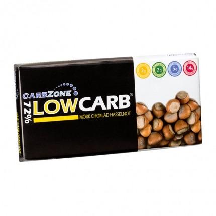 3 x CarbZone Low Carb Mørk Chokolade 72%, Hasselnød