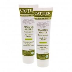 CATTIER, Masque Argile Verte, peaux grasses, lot de 2