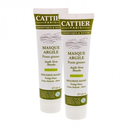 CATTIER, Masque Argile Verte, peaux grasses, lot de 2