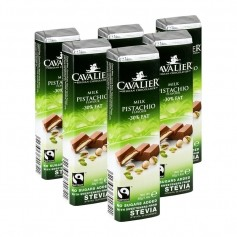6 x Cavalier Stevia Light Riegel Pistachio Milchschokolade