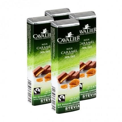 4 x Cavalier Stevia, lys melkesjokoladebar med karamell