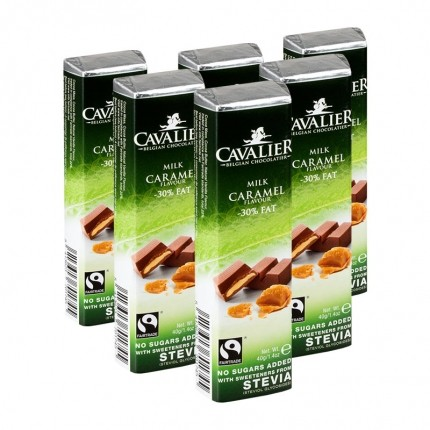 6 x Cavalier Stevia, lys melkesjokoladebar med karamell