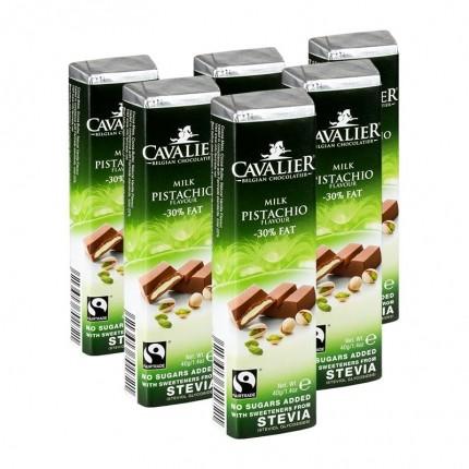 6 x Cavalier Stevia, lys melkesjokoladebar med pistasj