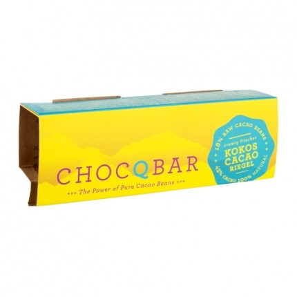 3 x ChocQlate Superfood Riegel Kokos Cacao pur