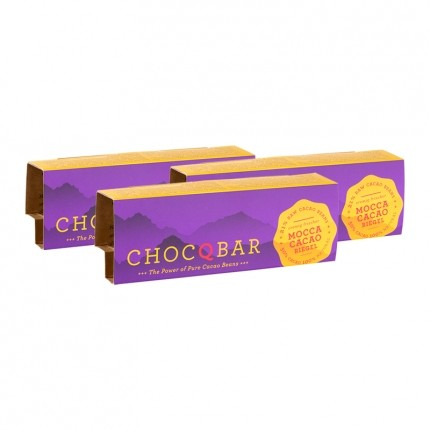 3 x ChocQlate Superfood Riegel Mocca Cacao pur