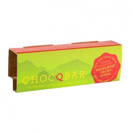 3 x ChocQlate Økologisk ChocQbar, Hasselnød-kakao
