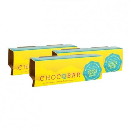 3 x ChocQlate Økologisk ChocQbar, Kokos-kakao
