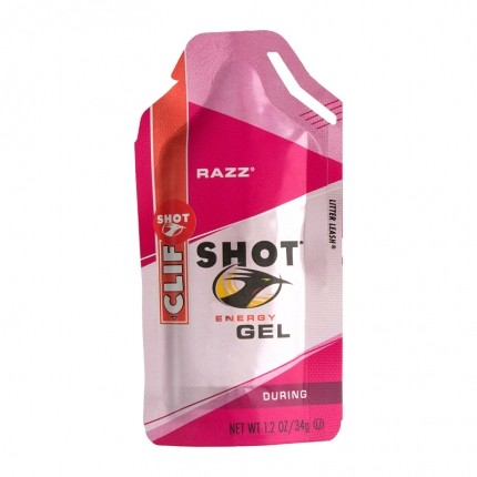 6 x CLIF Shot Energy Gel Razz, Bringebær