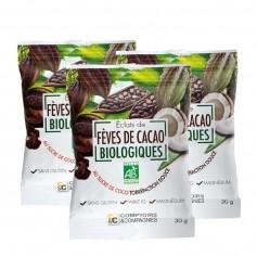 Comptoirs & Compagnies, Eclats de fèves de cacao bio, au sucre de coco, lot de 2