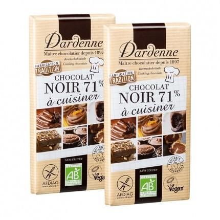 Dardenne, Chocolat noir 71% à cuisiner, tablette, lot de 2