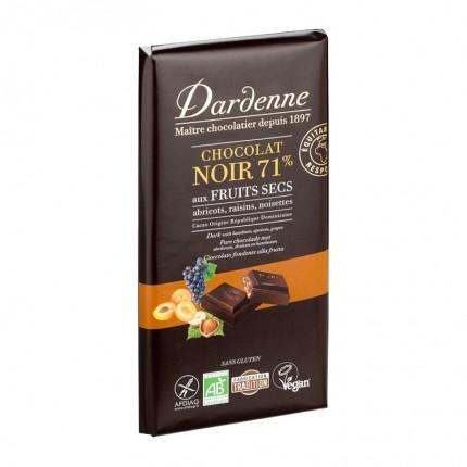Dardenne, TABLETTE CHOCOLAT NOIR TRADITION AUX FRUITS SECS